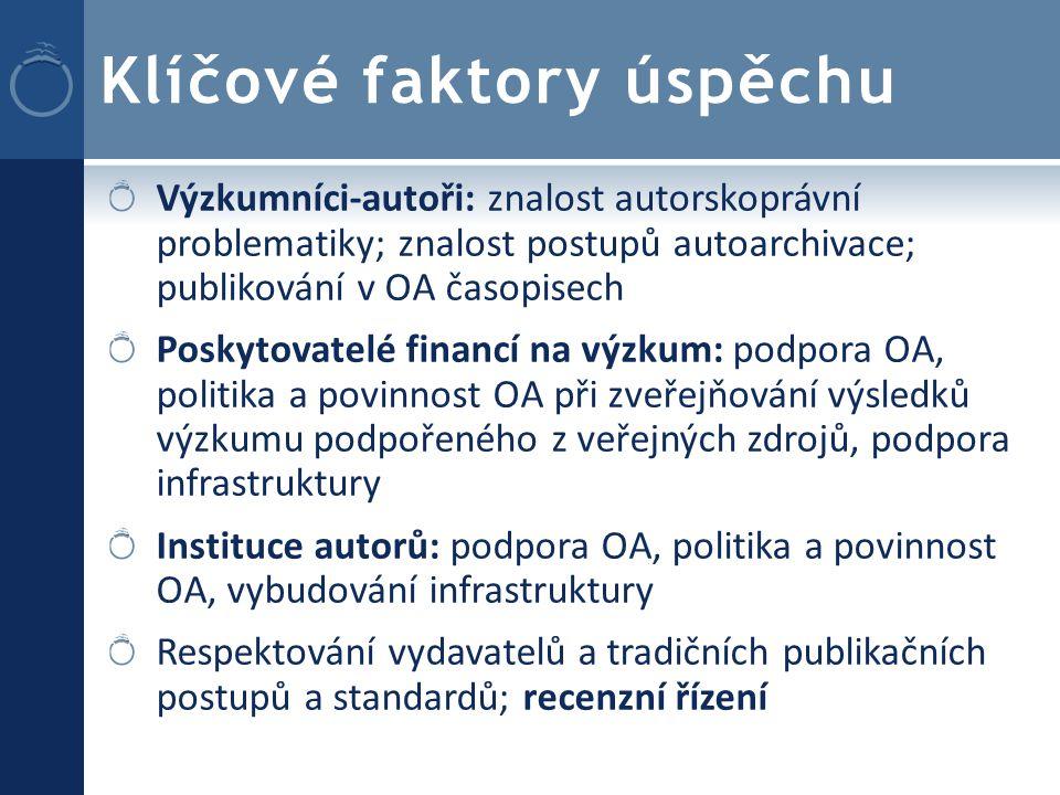 Klíčové faktory úspěchu Výzkumníci-autoři: znalost autorskoprávní problematiky; znalost postupů autoarchivace; publikování v OA časopisech Poskytovatelé financí na výzkum: podpora OA, politika a povinnost OA při zveřejňování výsledků výzkumu podpořeného z veřejných zdrojů, podpora infrastruktury Instituce autorů: podpora OA, politika a povinnost OA, vybudování infrastruktury Respektování vydavatelů a tradičních publikačních postupů a standardů; recenzní řízení
