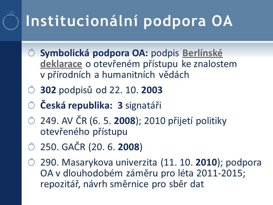 Technologická infrastruktura Otevřené repozitáře Zapojení do mezinárodní infrastruktury OA OpenAIREOpenAIRE: 40 repozitářů přizpůsobených OpenAIRE (+ sirotčí repozitář OpenAIRE v CERN) – Česká republika: 1 (DSpace VŠB-TUO) DRIVERDRIVER: 312 repozitářů ze 42 zemí – Česká republika: 3 (dKNAV, DSpace VŠB-TUO, NUŠL) BASEBASE (Bielefeld Academic Search Engine): sklízí 2035 zdrojů – Česká republika: 7 zdrojů; dva časopisy (registrované v DOAJ) a 5 repozitářů (dKNAV, VŠB-TUO, UPardubice, DML-CZ, UTB) Univerzita Karlova: CERGE – projekt NEEO (Economists Online)CERGEEconomists Online