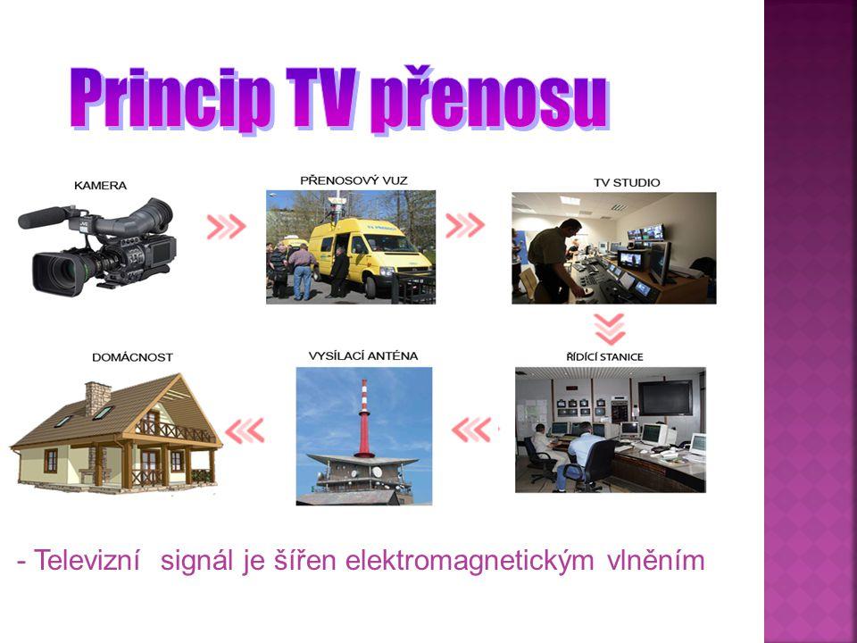  Televizní vysílání se uskutečňuje sítí televizních vysílačů  Televizní signál (vyzařovaný anténou vysílače ) má dvě oddělené složky:  1.