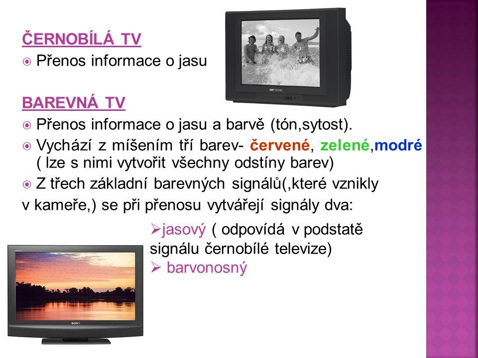 ČERNOBÍLÁ TV  Přenos informace o jasu BAREVNÁ TV  Přenos informace o jasu a barvě (tón,sytost).  Vychází z míšením tří barev- červené, zelené,modré