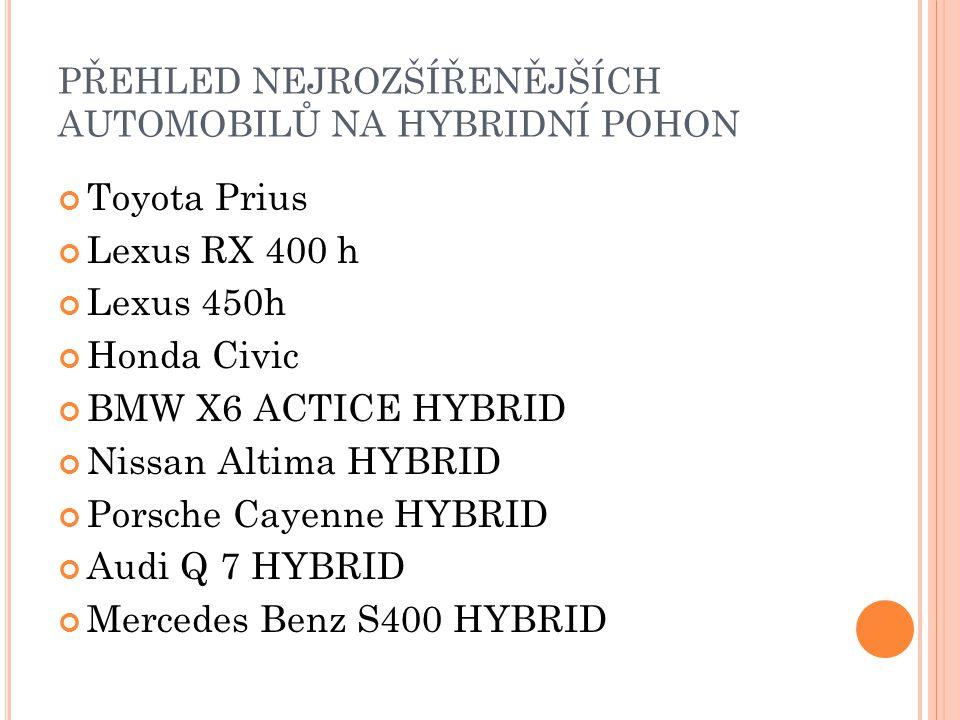 PŘEHLED NEJROZŠÍŘENĚJŠÍCH AUTOMOBILŮ NA HYBRIDNÍ POHON Toyota Prius Lexus RX 400 h Lexus 450h Honda Civic BMW X6 ACTICE HYBRID Nissan Altima HYBRID Po