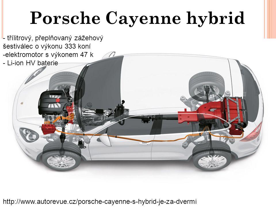 Porsche Cayenne hybrid http://www.autorevue.cz/porsche-cayenne-s-hybrid-je-za-dvermi - třílitrový, přeplňovaný zážehový šestiválec o výkonu 333 koní -