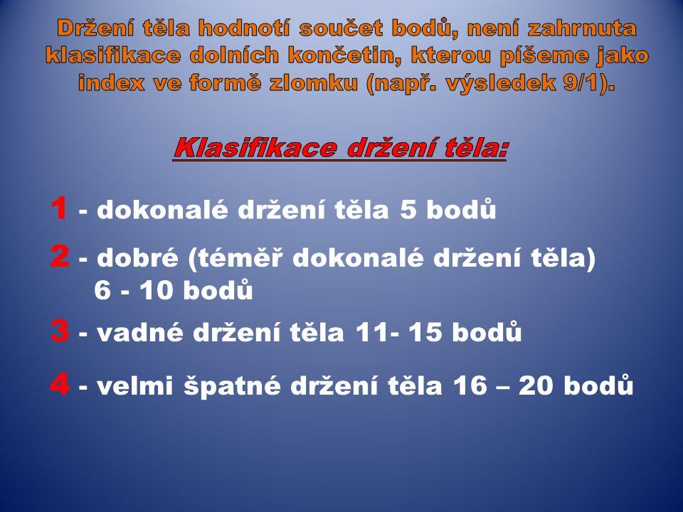 4 - velmi špatné držení těla 16 – 20 bodů 1 - dokonalé držení těla 5 bodů 2 - dobré (téměř dokonalé držení těla) 6 - 10 bodů 3 - vadné držení těla 11-