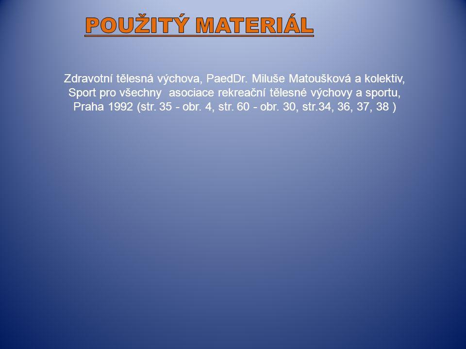 Zdravotní tělesná výchova, PaedDr. Miluše Matoušková a kolektiv, Sport pro všechny asociace rekreační tělesné výchovy a sportu, Praha 1992 (str. 35 -