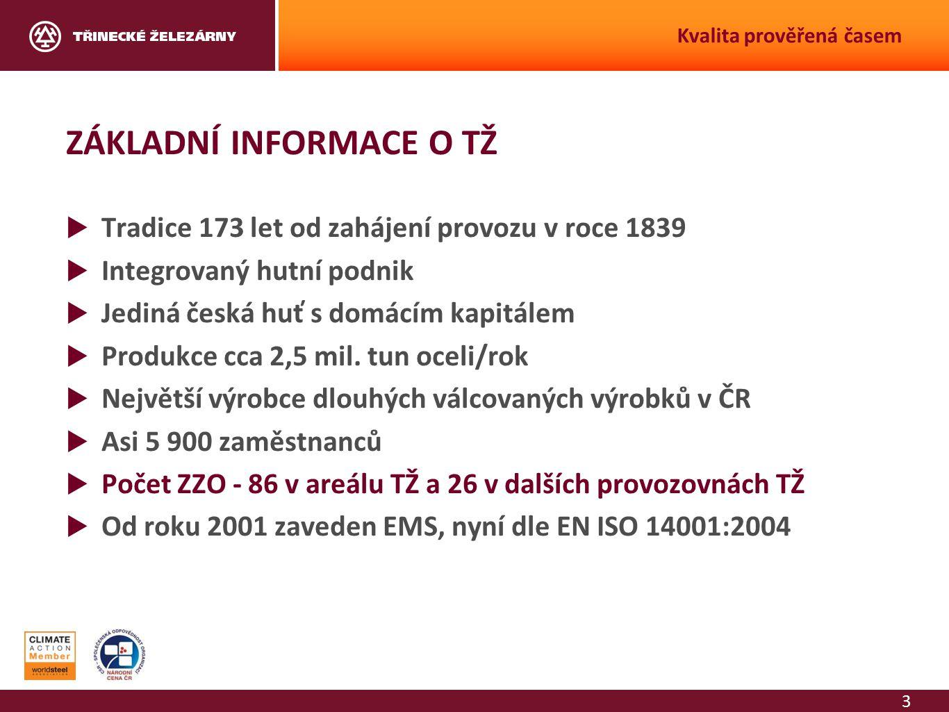 3 Kvalita prověřená časem ZÁKLADNÍ INFORMACE O TŽ  Tradice 173 let od zahájení provozu v roce 1839  Integrovaný hutní podnik  Jediná česká huť s do