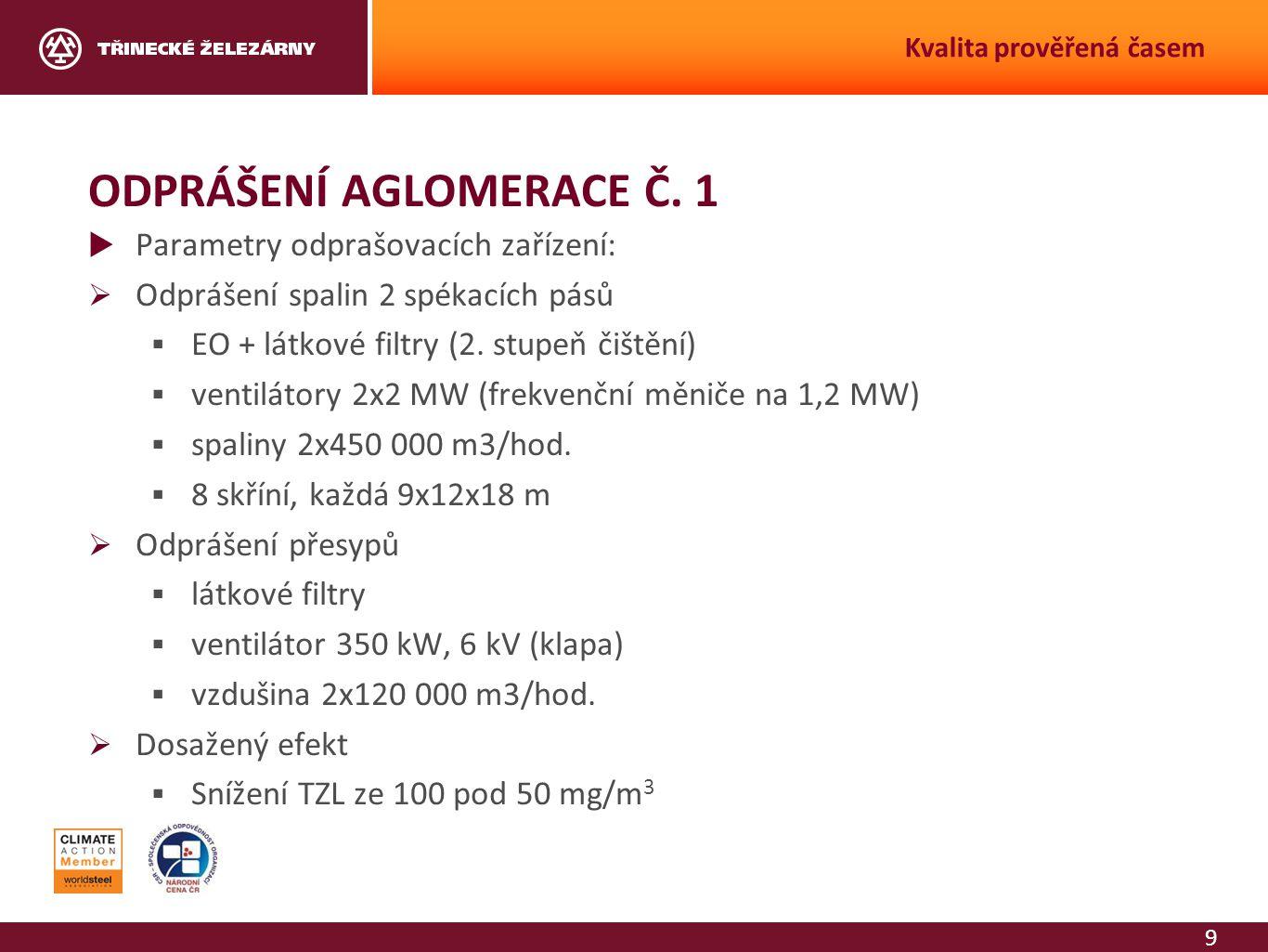 9 Kvalita prověřená časem ODPRÁŠENÍ AGLOMERACE Č. 1  Parametry odprašovacích zařízení:  Odprášení spalin 2 spékacích pásů  EO + látkové filtry (2.