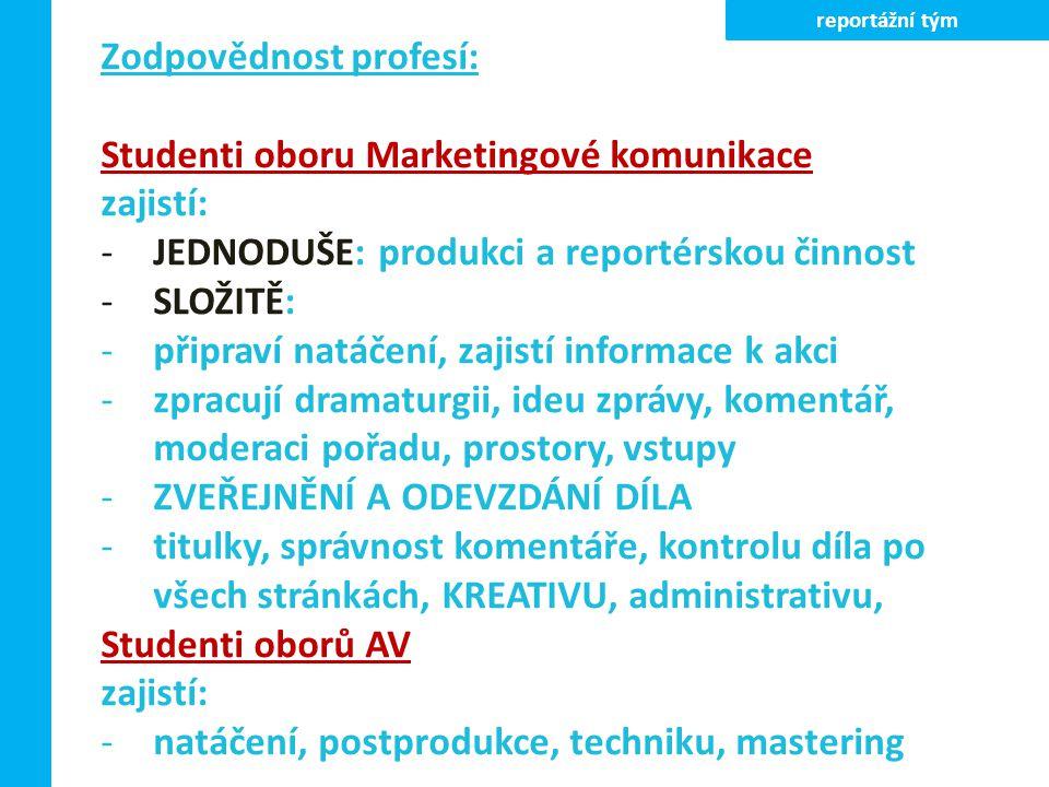 Zodpovědnost profesí: Studenti oboru Marketingové komunikace zajistí: -JEDNODUŠE: produkci a reportérskou činnost -SLOŽITĚ: -připraví natáčení, zajist