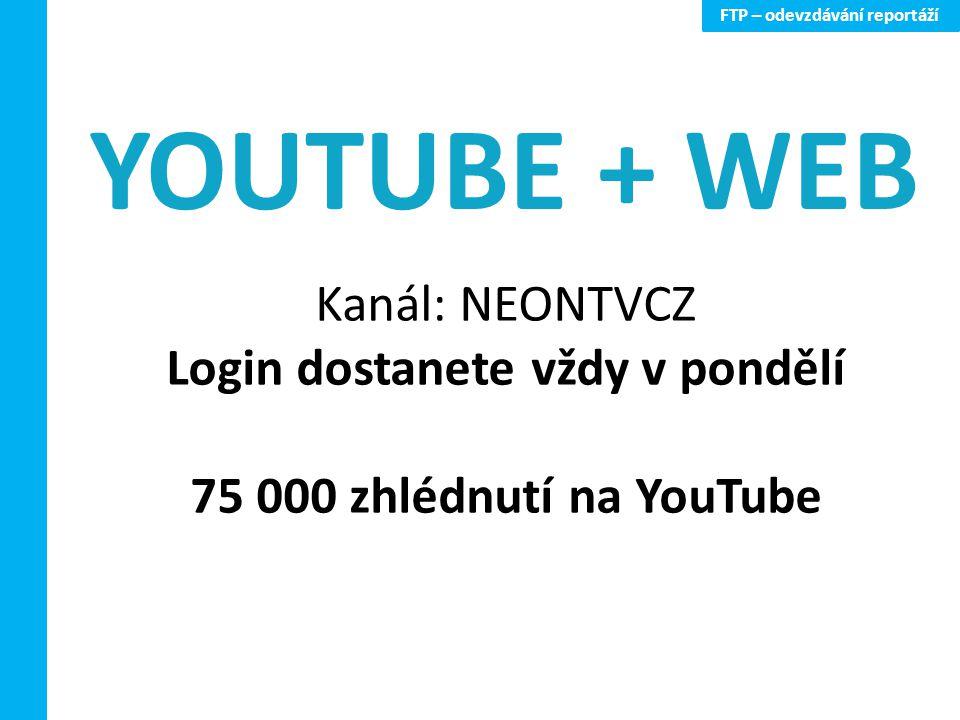 FTP – odevzdávání reportáží Kanál: NEONTVCZ Login dostanete vždy v pondělí 75 000 zhlédnutí na YouTube YOUTUBE + WEB