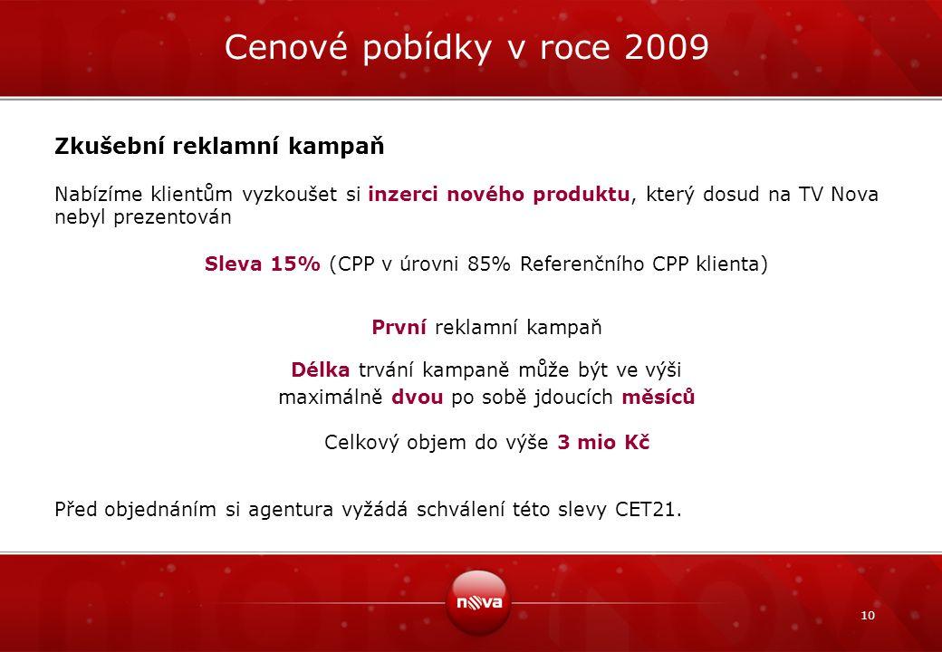 10 Zkušební reklamní kampaň Nabízíme klientům vyzkoušet si inzerci nového produktu, který dosud na TV Nova nebyl prezentován Sleva 15% (CPP v úrovni 8