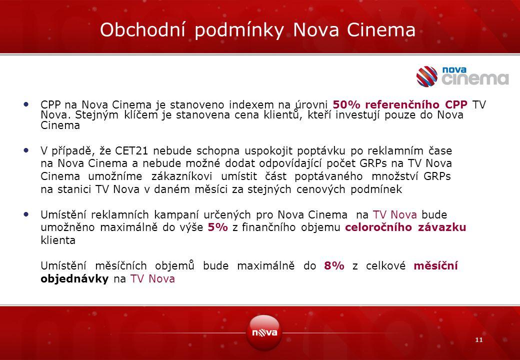 11 Obchodní podmínky Nova Cinema CPP na Nova Cinema je stanoveno indexem na úrovni 50% referenčního CPP TV Nova. Stejným klíčem je stanovena cena klie