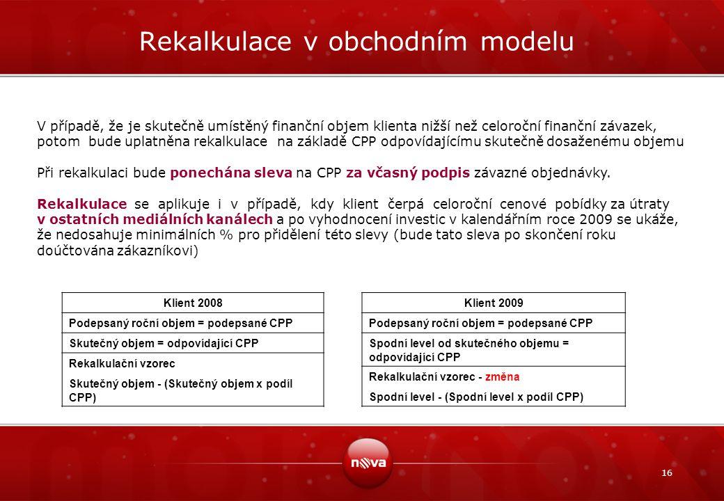 16 Rekalkulace v obchodním modelu V případě, že je skutečně umístěný finanční objem klienta nižší než celoroční finanční závazek, potom bude uplatněna