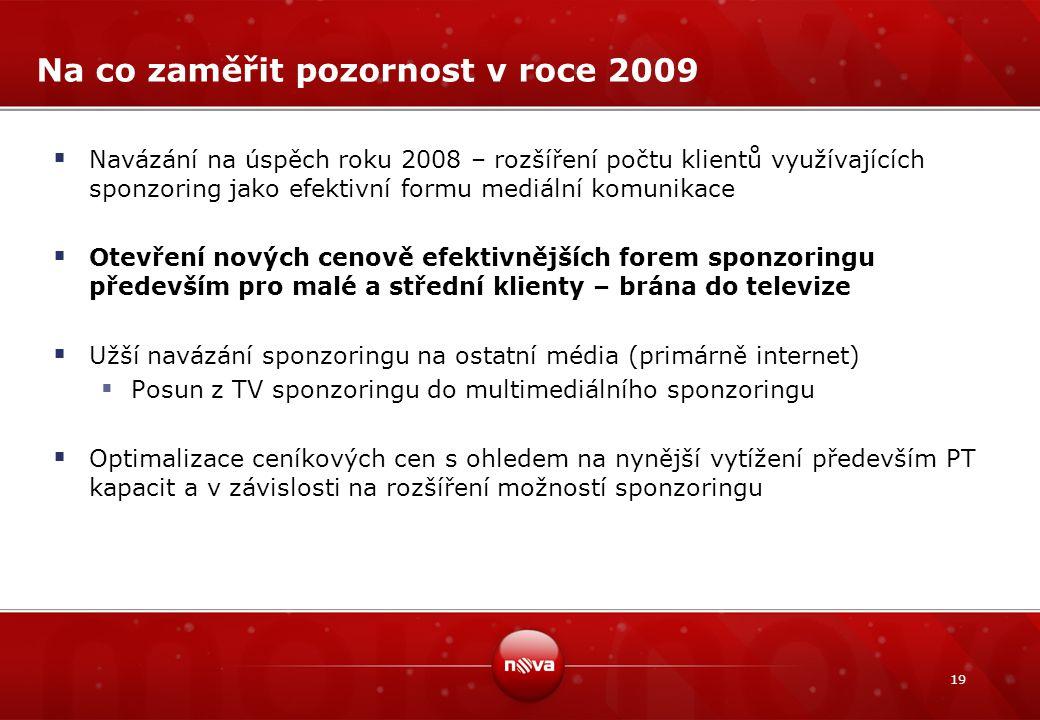 19 Na co zaměřit pozornost v roce 2009  Navázání na úspěch roku 2008 – rozšíření počtu klientů využívajících sponzoring jako efektivní formu mediální