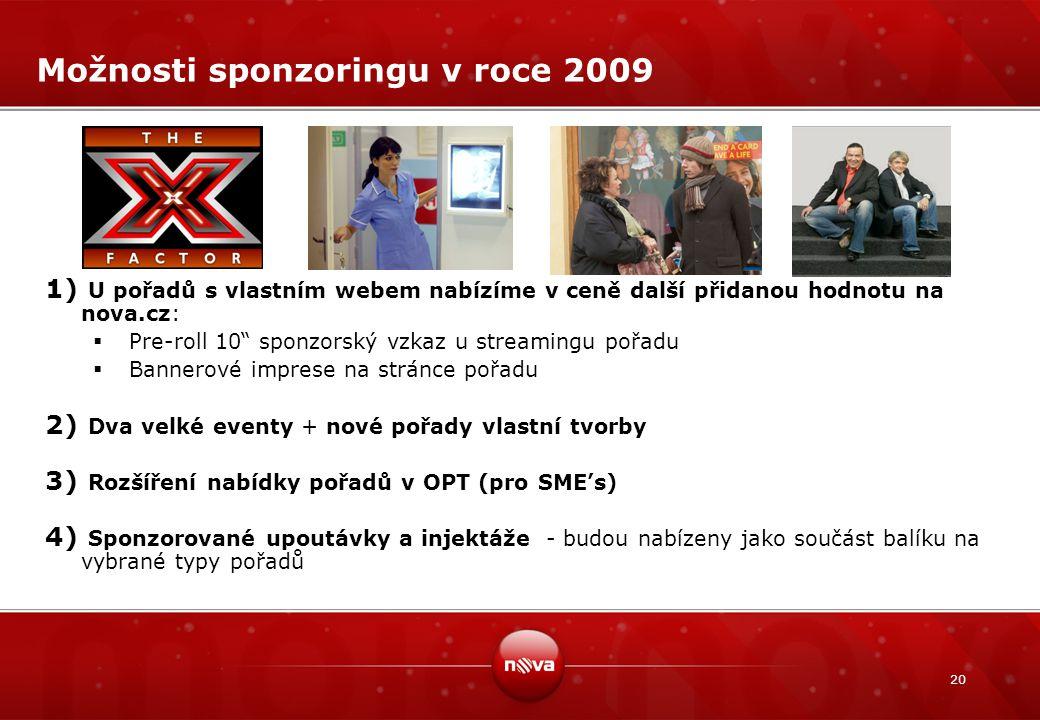 """20 Možnosti sponzoringu v roce 2009 1) U pořadů s vlastním webem nabízíme v ceně další přidanou hodnotu na nova.cz:  Pre-roll 10"""" sponzorský vzkaz u"""