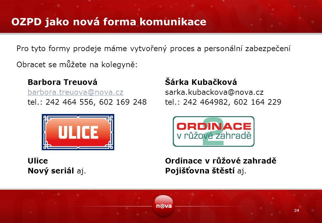 24 OZPD jako nová forma komunikace Pro tyto formy prodeje máme vytvořený proces a personální zabezpečení Obracet se můžete na kolegyně: Barbora Treuov