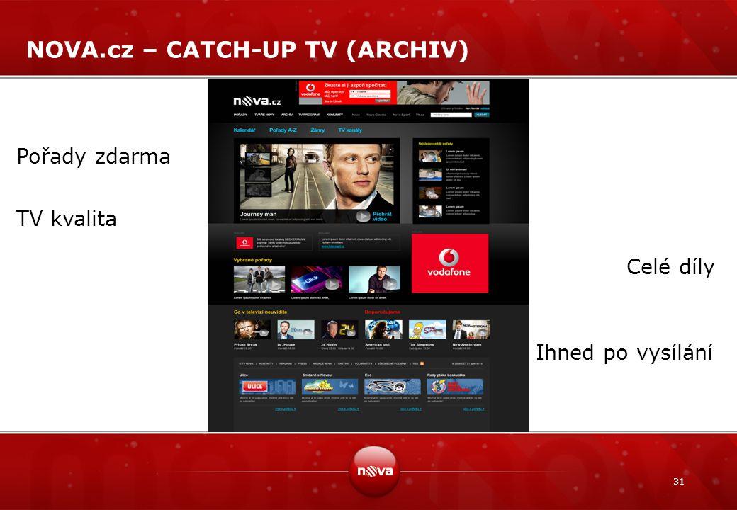 31 NOVA.cz – CATCH-UP TV (ARCHIV) Pořady zdarma TV kvalita Celé díly Ihned po vysílání