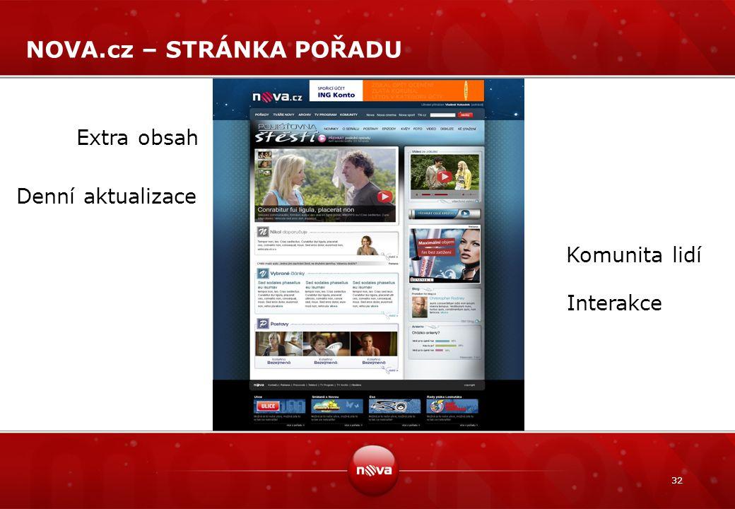 32 NOVA.cz – STRÁNKA POŘADU Extra obsah Denní aktualizace Komunita lidí Interakce