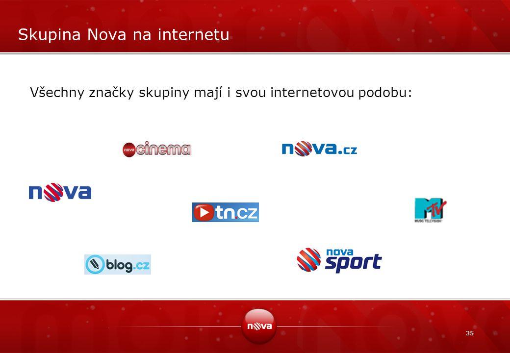 35 Skupina Nova na internetu Všechny značky skupiny mají i svou internetovou podobu: