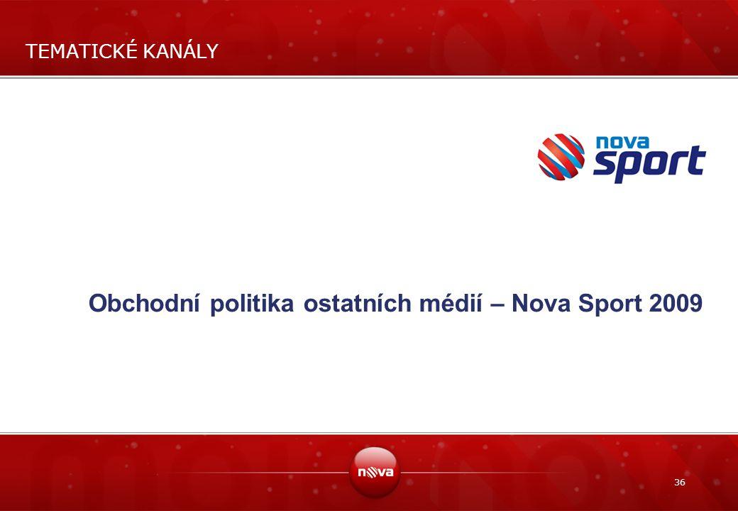 36 TEMATICKÉ KANÁLY Obchodní politika ostatních médií – Nova Sport 2009