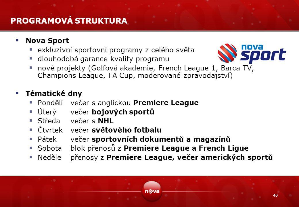 40 PROGRAMOVÁ STRUKTURA  Nova Sport  exkluzivní sportovní programy z celého světa  dlouhodobá garance kvality programu  nové projekty (Golfová aka