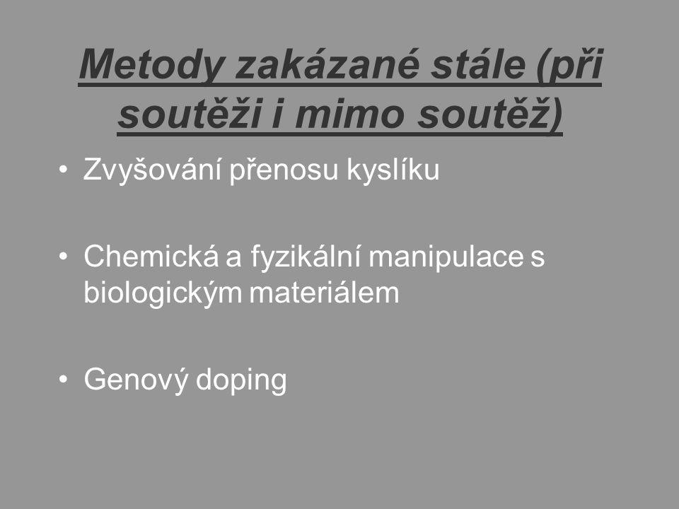Metody zakázané stále (při soutěži i mimo soutěž) Zvyšování přenosu kyslíku Chemická a fyzikální manipulace s biologickým materiálem Genový doping
