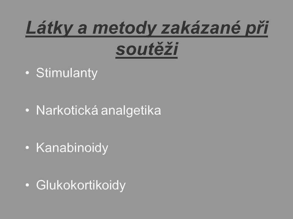 Látky a metody zakázané při soutěži Stimulanty Narkotická analgetika Kanabinoidy Glukokortikoidy