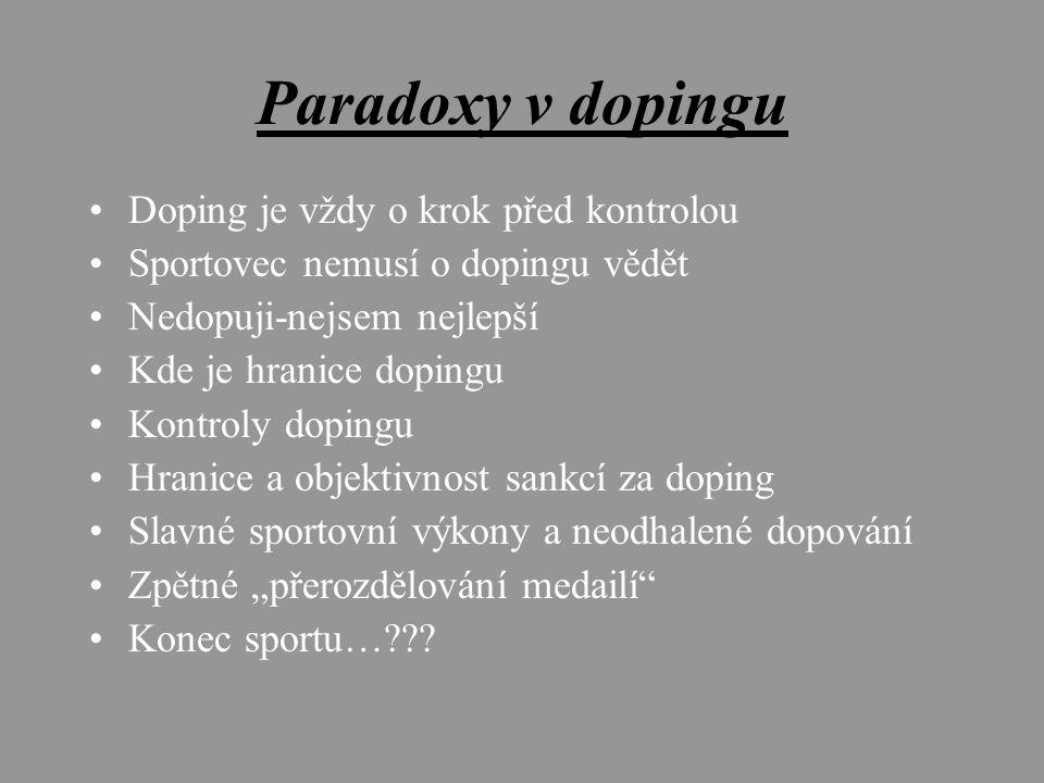 """Paradoxy v dopingu Doping je vždy o krok před kontrolou Sportovec nemusí o dopingu vědět Nedopuji-nejsem nejlepší Kde je hranice dopingu Kontroly dopingu Hranice a objektivnost sankcí za doping Slavné sportovní výkony a neodhalené dopování Zpětné """"přerozdělování medailí Konec sportu…"""