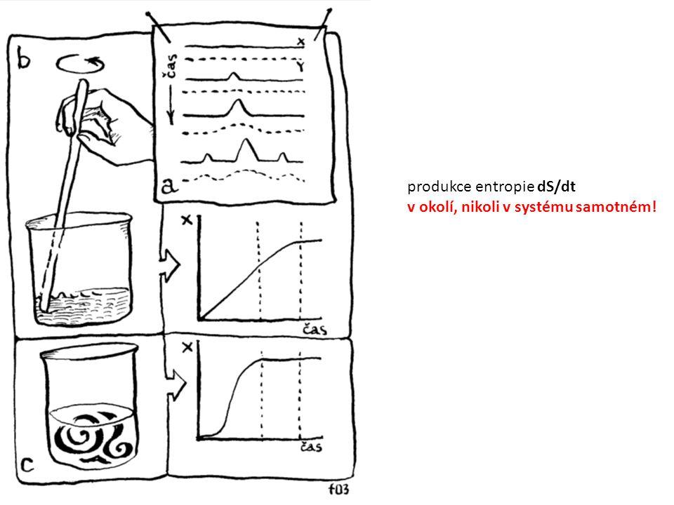 produkce entropie dS/dt v okolí, nikoli v systému samotném!
