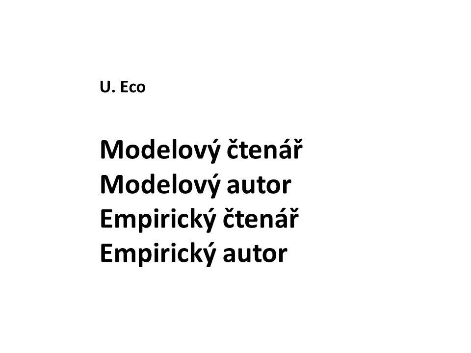 U. Eco Modelový čtenář Modelový autor Empirický čtenář Empirický autor
