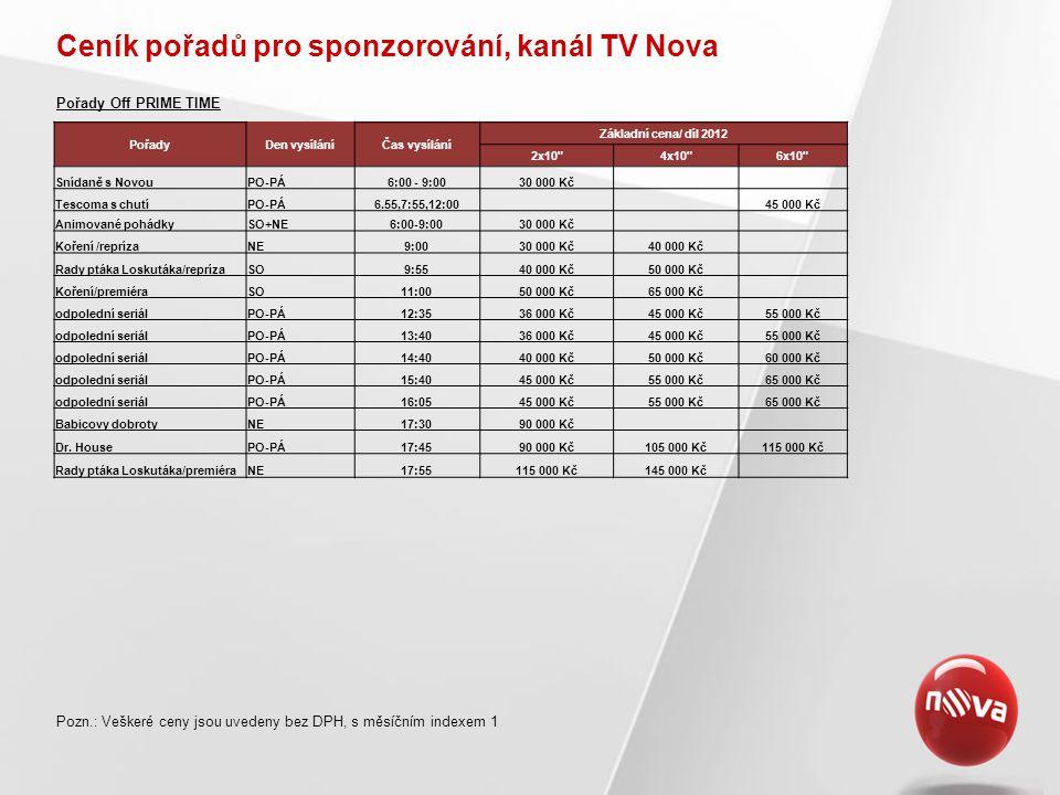 Ceník pořadů pro sponzorování, kanál TV Nova Pozn.: Veškeré ceny jsou uvedeny bez DPH, s měsíčním indexem 1 Pořady Off PRIME TIME PořadyDen vysíláníČa
