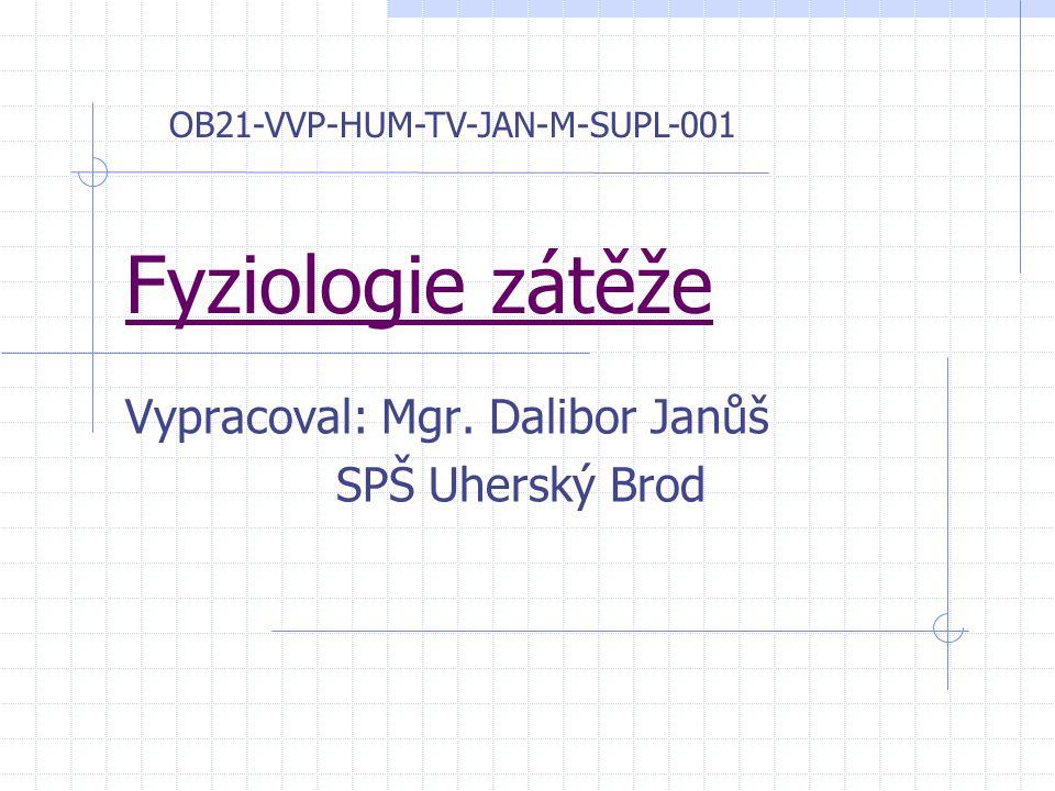 Fyziologie zátěže Vypracoval: Mgr. Dalibor Janůš SPŠ Uherský Brod OB21-VVP-HUM-TV-JAN-M-SUPL-001