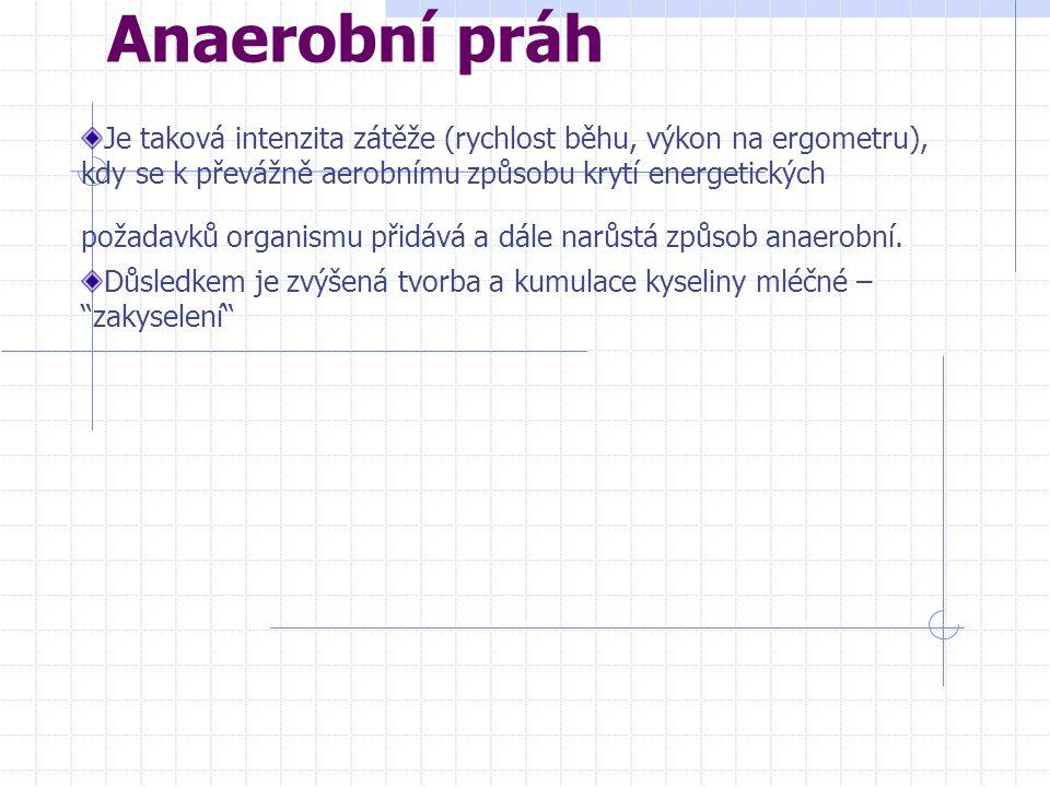 Anaerobní práh Je taková intenzita zátěže (rychlost běhu, výkon na ergometru), kdy se k převážně aerobnímu způsobu krytí energetických požadavků organismu přidává a dále narůstá způsob anaerobní.