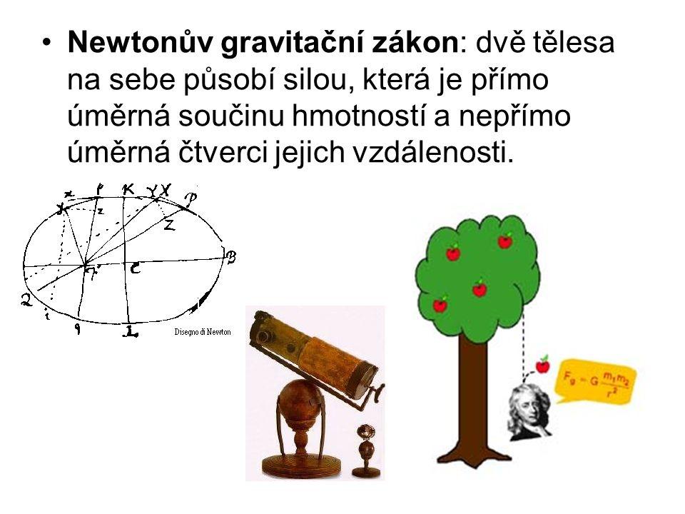 Newtonův gravitační zákon: dvě tělesa na sebe působí silou, která je přímo úměrná součinu hmotností a nepřímo úměrná čtverci jejich vzdálenosti.