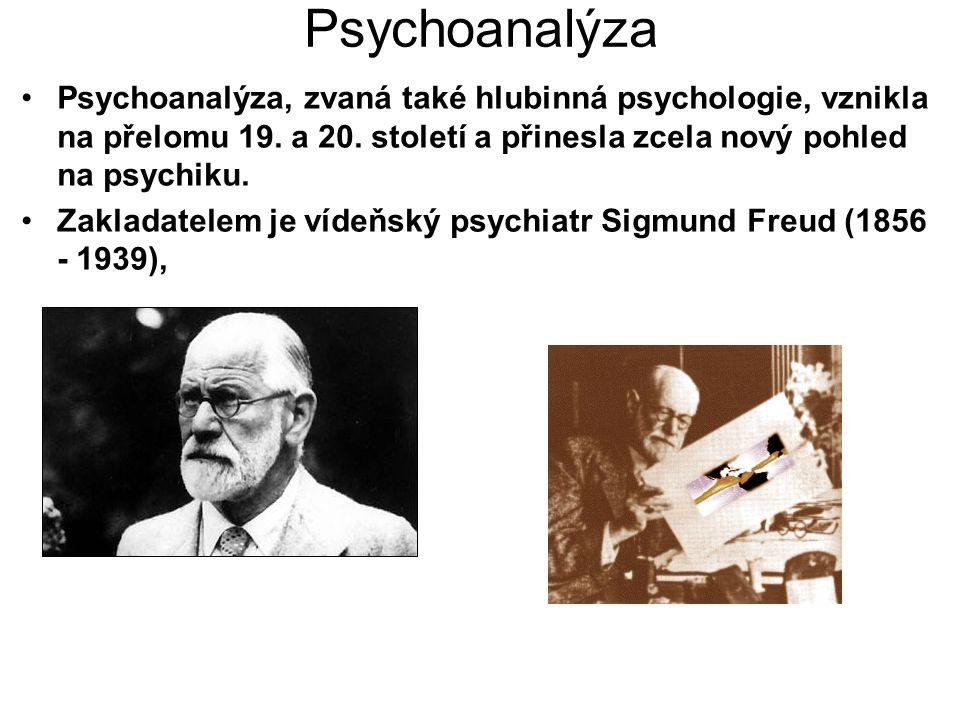 Psychoanalýza Psychoanalýza, zvaná také hlubinná psychologie, vznikla na přelomu 19. a 20. století a přinesla zcela nový pohled na psychiku. Zakladate