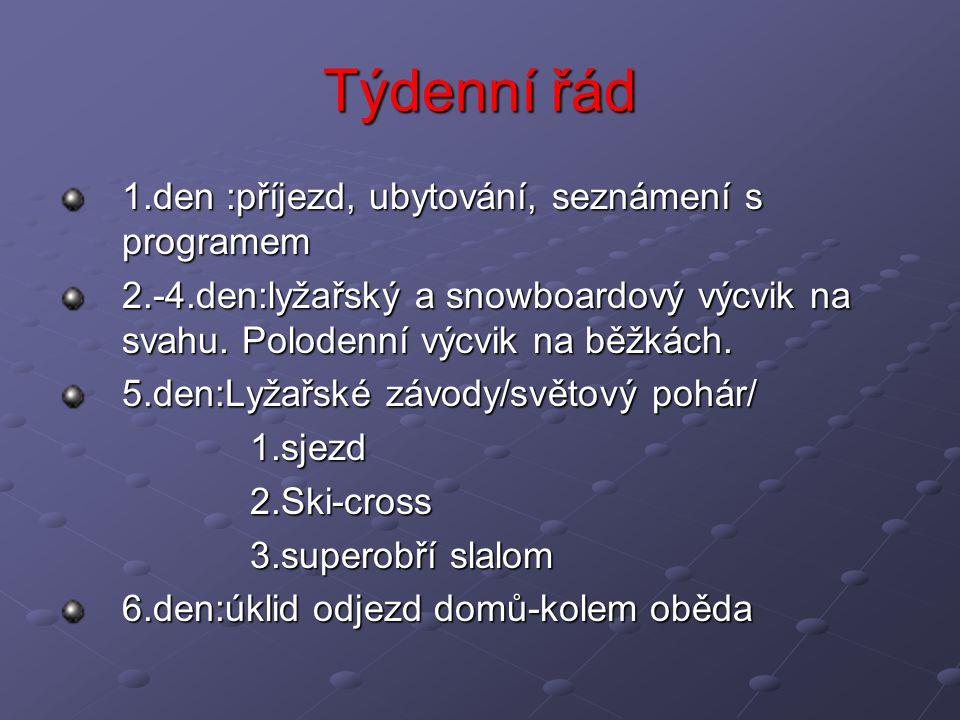 Týdenní řád 1.den :příjezd, ubytování, seznámení s programem 2.-4.den:lyžařský a snowboardový výcvik na svahu. Polodenní výcvik na běžkách. 5.den:Lyža