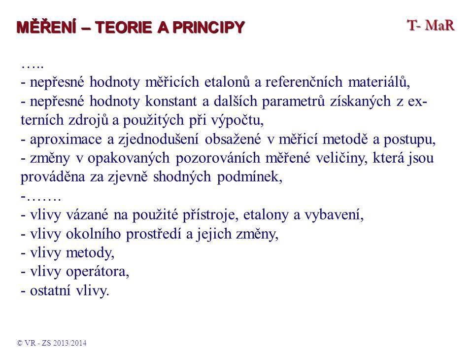 T- MaR MĚŘENÍ – TEORIE A PRINCIPY ….. - nepřesné hodnoty měřicích etalonů a referenčních materiálů, - nepřesné hodnoty konstant a dalších parametrů zí
