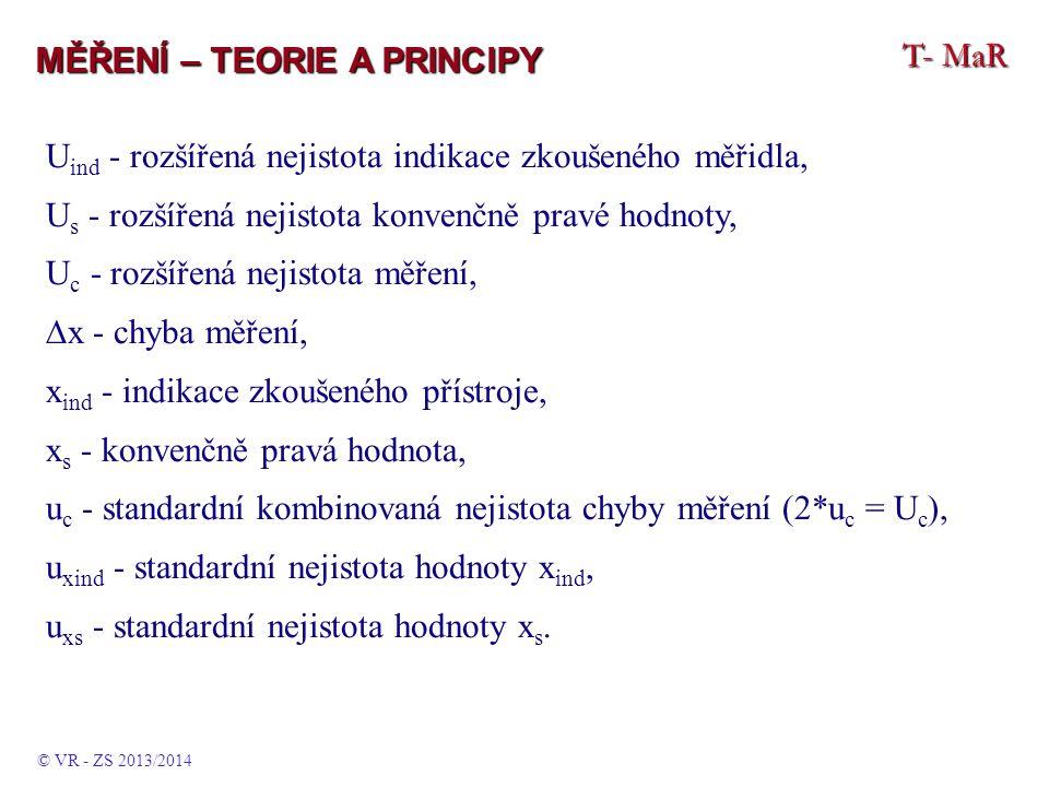 T- MaR MĚŘENÍ – TEORIE A PRINCIPY U ind - rozšířená nejistota indikace zkoušeného měřidla, U s - rozšířená nejistota konvenčně pravé hodnoty, U c - ro