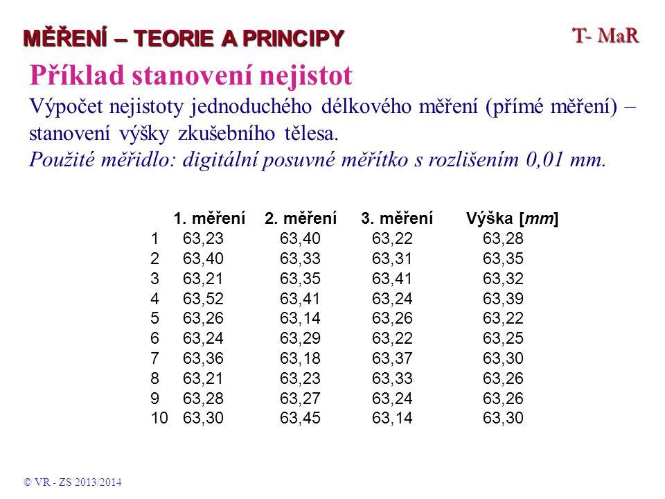T- MaR MĚŘENÍ – TEORIE A PRINCIPY Příklad stanovení nejistot Výpočet nejistoty jednoduchého délkového měření (přímé měření) – stanovení výšky zkušební