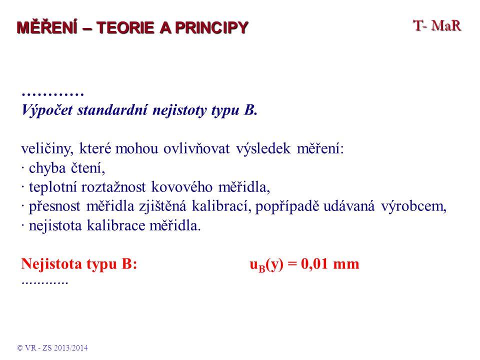 T- MaR MĚŘENÍ – TEORIE A PRINCIPY ………… Výpočet standardní nejistoty typu B.