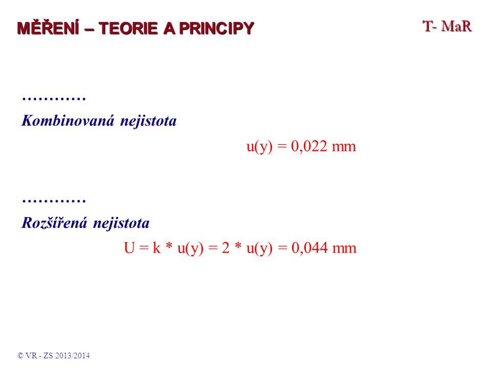 T- MaR MĚŘENÍ – TEORIE A PRINCIPY ………… Kombinovaná nejistota u(y) = 0,022 mm ………… Rozšířená nejistota U = k * u(y) = 2 * u(y) = 0,044 mm © VR - ZS 2013/2014