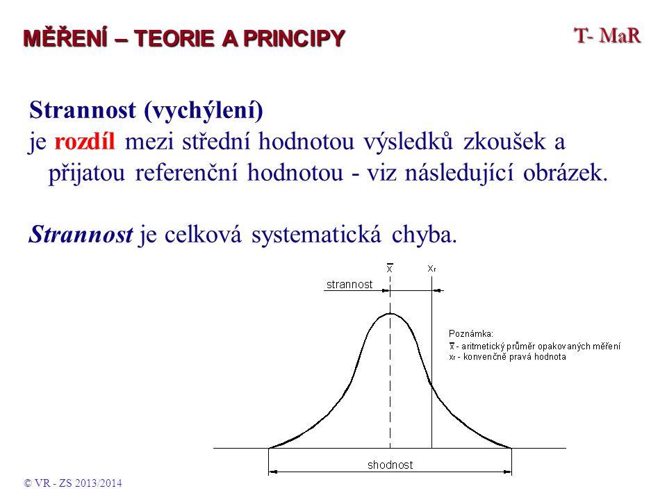 T- MaR MĚŘENÍ – TEORIE A PRINCIPY Strannost (vychýlení) je rozdíl mezi střední hodnotou výsledků zkoušek a přijatou referenční hodnotou - viz následující obrázek.