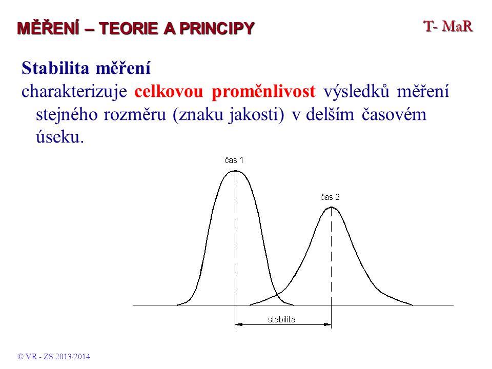 T- MaR MĚŘENÍ – TEORIE A PRINCIPY Stabilita měření charakterizuje celkovou proměnlivost výsledků měření stejného rozměru (znaku jakosti) v delším časovém úseku.