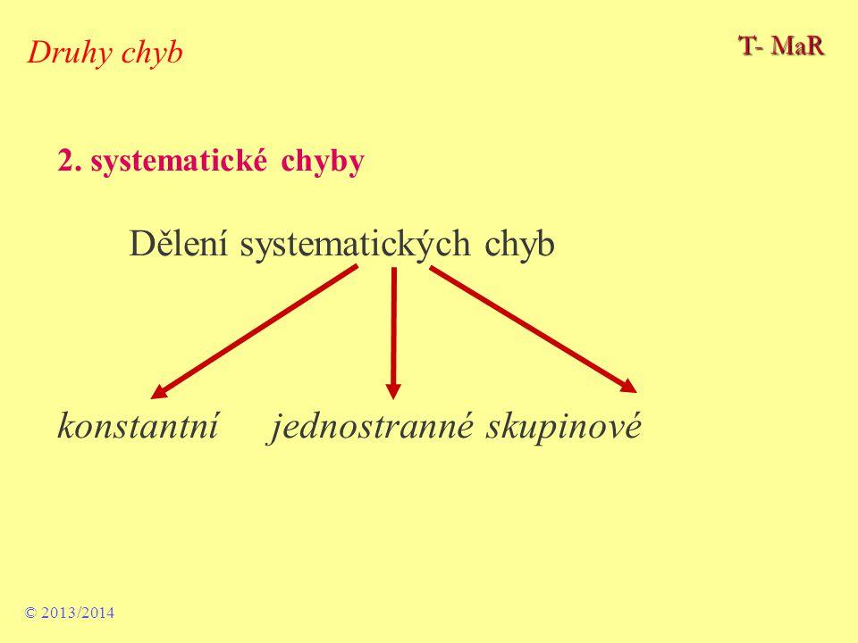 2. systematické chyby Dělení systematických chyb konstantní jednostranné skupinové © 2013/2014 Druhy chyb T- MaR
