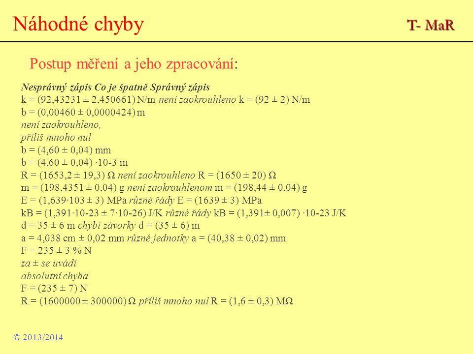 Náhodné chyby Postup měření a jeho zpracování: © 2013/2014 Nesprávný zápis Co je špatně Správný zápis k = (92,43231 ± 2,450661) N/m není zaokrouhleno