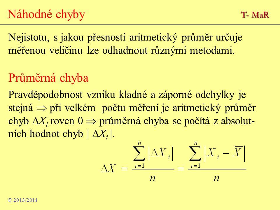 Náhodné chyby Nejistotu, s jakou přesností aritmetický průměr určuje měřenou veličinu lze odhadnout různými metodami. Průměrná chyba Pravděpodobnost v
