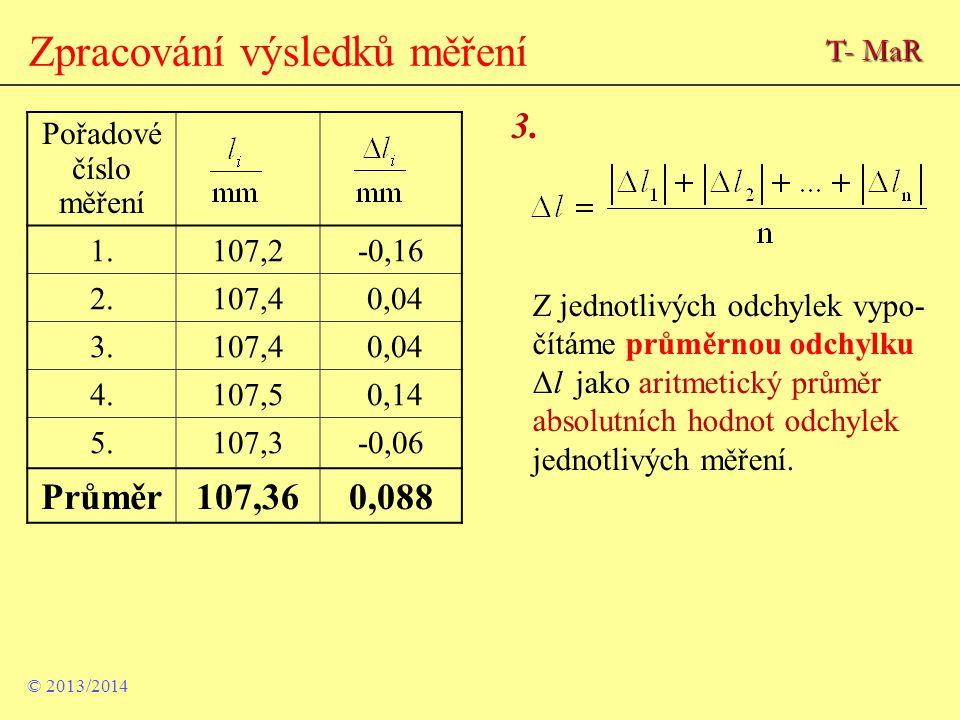 Zpracování výsledků měření Pořadové číslo měření 1.107,2-0,16 2.107,4 0,04 3.107,4 0,04 4.107,5 0,14 5.107,3-0,06 Průměr107,360,088 3. Z jednotlivých