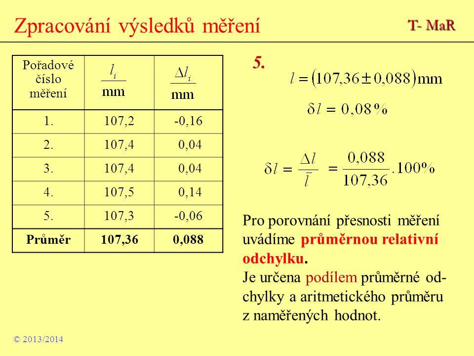 Zpracování výsledků měření Pořadové číslo měření 1.107,2-0,16 2.107,4 0,04 3.107,4 0,04 4.107,5 0,14 5.107,3-0,06 Průměr107,360,088 5. Pro porovnání p