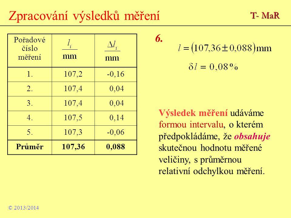 Zpracování výsledků měření Pořadové číslo měření 1.107,2-0,16 2.107,4 0,04 3.107,4 0,04 4.107,5 0,14 5.107,3-0,06 Průměr107,360,088 6. Výsledek měření