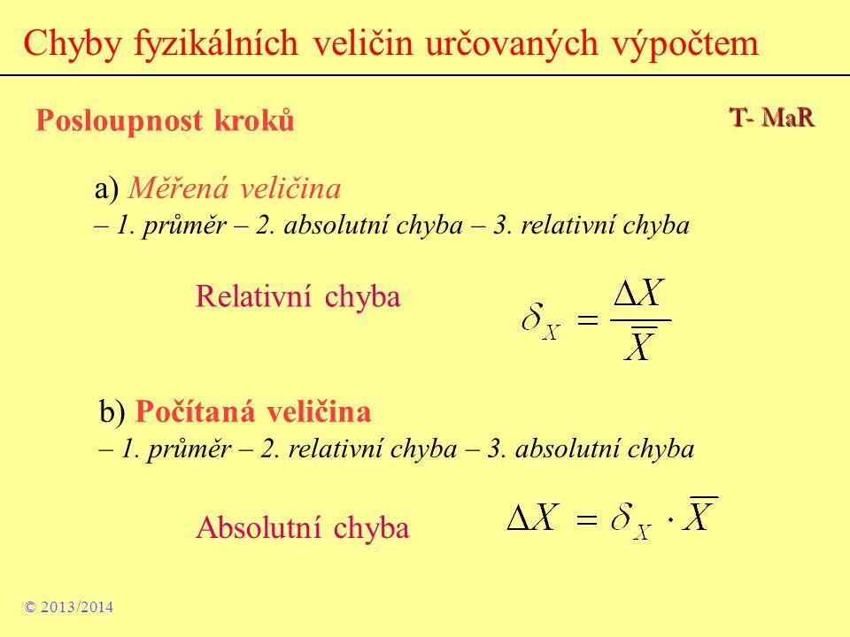 Chyby fyzikálních veličin určovaných výpočtem Posloupnost kroků a) Měřená veličina – 1. průměr – 2. absolutní chyba – 3. relativní chyba b) Počítaná v