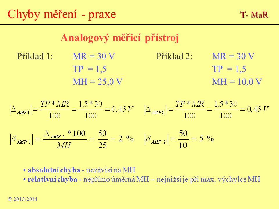 Analogový měřicí přístroj © 2013/2014 Příklad 1:MR = 30 VPříklad 2:MR = 30 VTP = 1,5 MH = 25,0 VMH = 10,0 V absolutní chyba - nezávisí na MH relativní