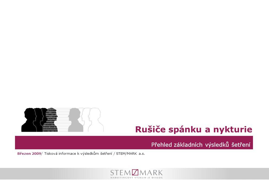Parametry výzkumu Průzkum společnosti STEM/MARK zjišťoval v rámci reprezentativního šetření zkušenosti české populace s nočním probouzením a následně s nykturií  Výzkum bylo součástí omnibusového šetření.